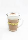 Diet coffee in a glass cup. Tasty coffee with foam for breakfast. The meter suggests healthy lifestyle but still tasty stock images