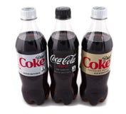 Diet Coke, colanoll och för koffein fri cola fotografering för bildbyråer