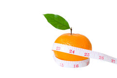Diet concep, Orange fruit and measuring tape on isolated Stock Photo