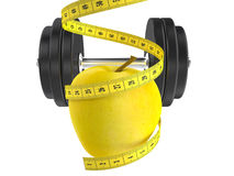 Diet concept. Apple and measuring tape 3d Stock Photo