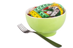 Diet concept. Spaghetti made of measure tapes as diet concept Royalty Free Stock Photo