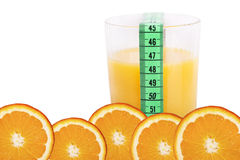 Diet concept. Close up of orange juice and slices as diet concept Stock Images