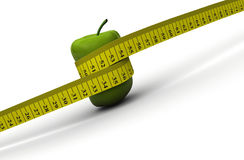 Diet concept. A tape measure thining an apple - 3d render Royalty Free Stock Photos