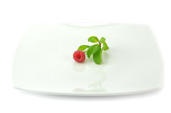 Diet concept. One small raspberry on the big white dish Royalty Free Stock Image