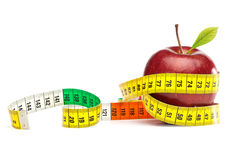 Apple with tape Measure - Diet Concept Stock Images