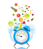 Diet concept with clock, scale dial Stock Photography