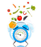 Diet concept with clock, scale dial Stock Image