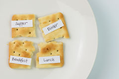 Diet. Concept with cream cracker broke into pieces on plate royalty free stock images