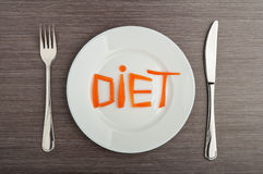 Diet Concept. Design Food. Word Diet Carrots On Plate Stock Photos