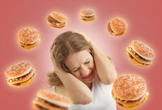 Diet concept. frightened girl in the stress royalty free stock photos