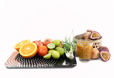 Diet concept. Fruits and vegetable with on  weight scale Royalty Free Stock Photos