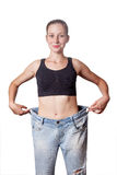 Diet concept and hanppy woman Royalty Free Stock Photo
