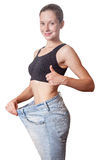 Diet concept and hanppy woman Royalty Free Stock Photography