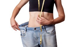Diet concept and hanppy woman Stock Image