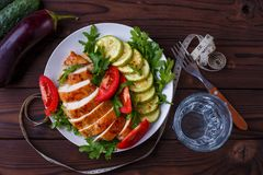 Diet concept, healthy lifestyle, low calorie food. Baked chicken stock photography