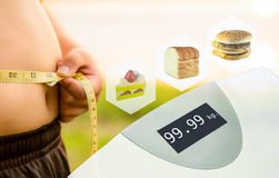 Diet Concept Image : Double exposure technique. Belly with measuring tape, Scale, unhealthy food Stock Images