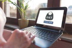 Diet concept on a laptop screen. Laptop screen displaying a diet concept royalty free stock image
