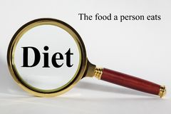 Diet Concept and Magnifying Glass stock photos