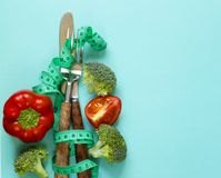 Diet concept. Measuring tape Stock Photography