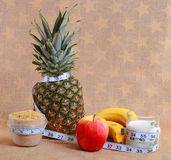 A diet concept with metric ribbon Royalty Free Stock Images