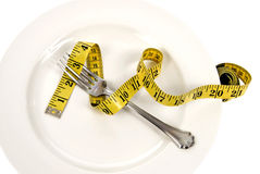 Diet Concept Plate Fork And Measuring Tape Royalty Free Stock Photos