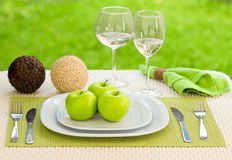 Diet concept. a plate served with apples Stock Photos