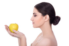 Free Diet Concept - Side View Of Young Beautiful Woman With Apple Iso Stock Photo - 70545840