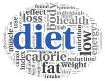 Diet concept in tag cloud. Diet words concept in tag cloud on white Royalty Free Stock Photos