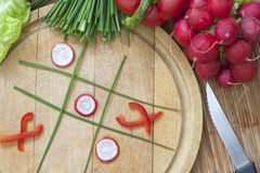 Diet concept tic tac toe. Diet concept hazardous game for health tic tac toe Stock Photo