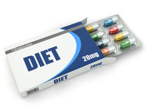 Diet concept. Vitamin pills in box. Stock Photography