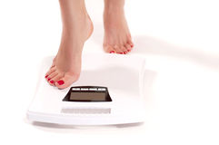 Diet concept weighing scales stock image