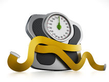Diet concept with weight scale and tape measure  Stock Image