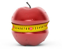 Diet Concept. Wet Red Apple with Yellow Measuring Tape Stock Images