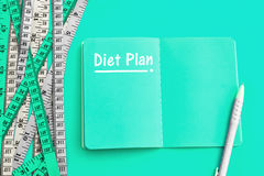 Diet control concept background. Colorful of Measuring tape on v Royalty Free Stock Photo