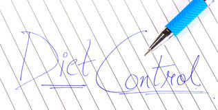 Diet control. Written on paper with pen Stock Images
