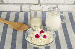Diet cottage cheese with fresh raspberries and milk.  Stock Photography