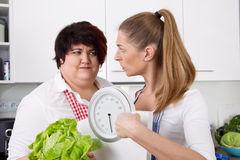 Diet course: fat woman will loosing weight with a dietitians. stock photography