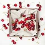 Diet dessert background, garden cherry, delicious berry.  royalty free stock photo
