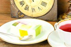 Diet Dessert: Fruit Jelly, Gelatin and Tea Stock Photo