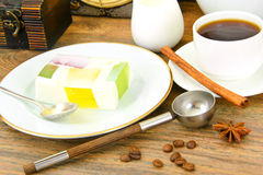 Diet Dessert: Fruit Jelly, Gelatin and Tea Royalty Free Stock Photography