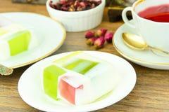 Diet Dessert: Fruit Jelly, Gelatin and Tea Royalty Free Stock Photo