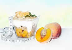 Diet dessert with peaches Royalty Free Stock Image