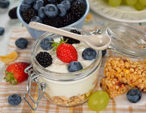 Diet dessert of yogurt and berries Stock Photos