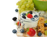 Diet dessert of yogurt and berries Stock Image