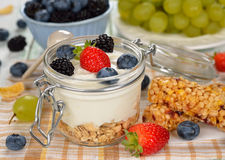 Diet dessert of yogurt and berries Royalty Free Stock Photos