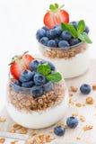 Diet dessert with yogurt, granola and fresh berries, vertical Stock Photo
