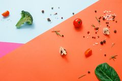 Flat lay of raw vegetables on abstract background. Diet, detox and healthy food concept - top view flat lay of fresh organic raw vegetables on abstract bright Stock Photos