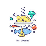 Diet diabets. Vector thin line icon. Diet diabets icon. Diabetes vector thin line icon. Premium quality outline sign. Stock vector illustration in flat design Royalty Free Stock Photos