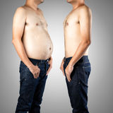 Diet Before and after diet. Fat and slim man opposite each other, Isolated on gray background - Before and after diet Royalty Free Stock Images