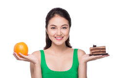 Diet. Dieting concept. Healthy Food. Beautiful Young Asian Woman Royalty Free Stock Photography
